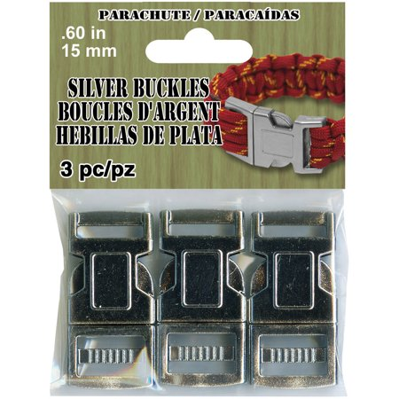 Paracord 15mm Plated Buckle 3/Pkg-Silver Tone