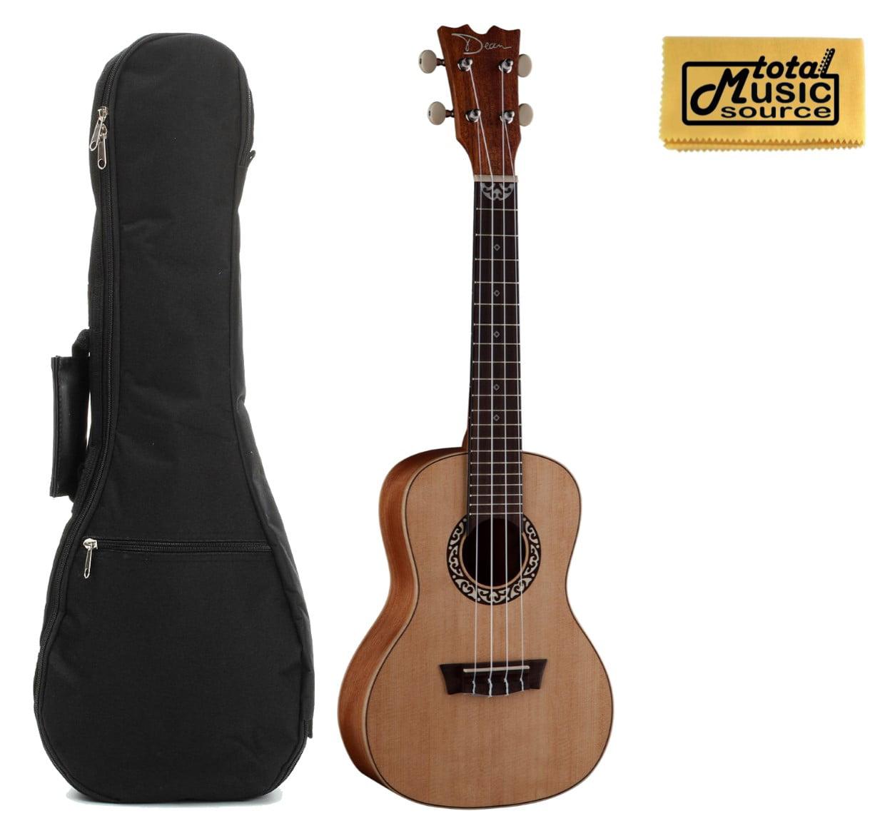 Dean Guitars Concert Spruce Ukulele, Satin Natural w/Padded Gigbag & PC ,UKEDCSPR BAGPC
