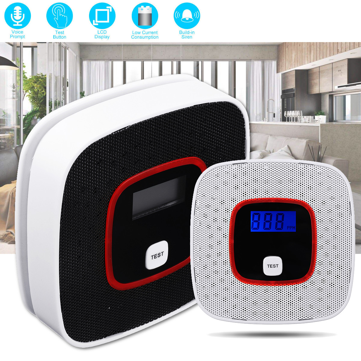 LCD CO Carbon Monoxide Gas Alarm Sensor Poisoning Smoke Tester Detector Monitor