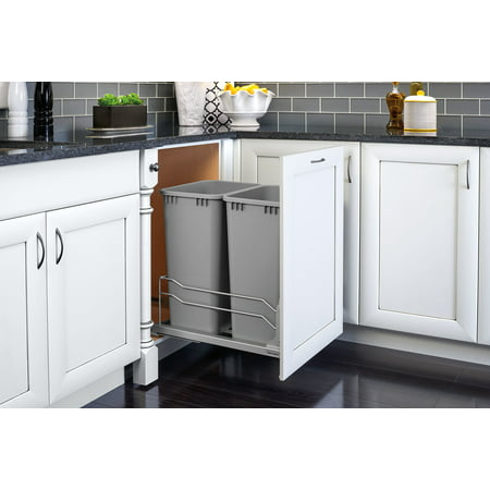 Rev A Shelf 53WC-2150SCDM-217 Double 50 Quart Undermount Pullout Waste Container