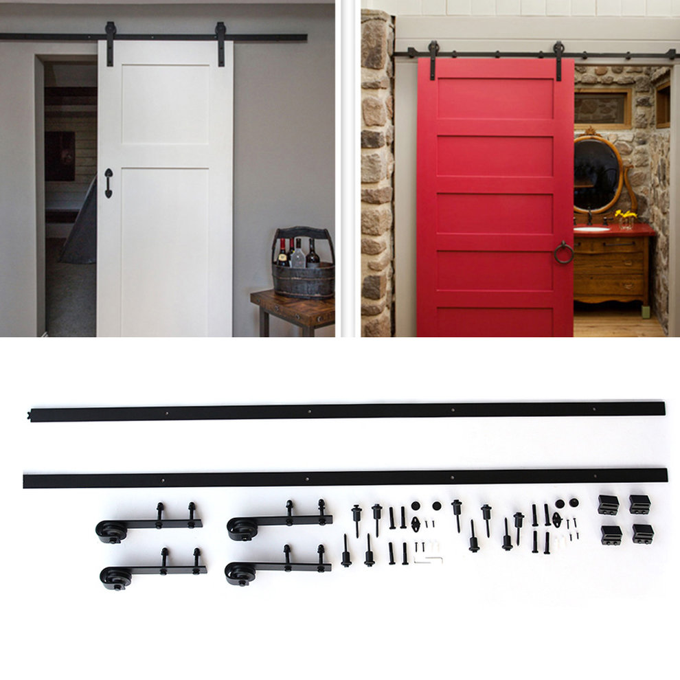 Black Metal 12ft Long Black Sturdy and Durable Antique Style Heavy Duty Sliding Barn Wood Door Hardware Closet Set