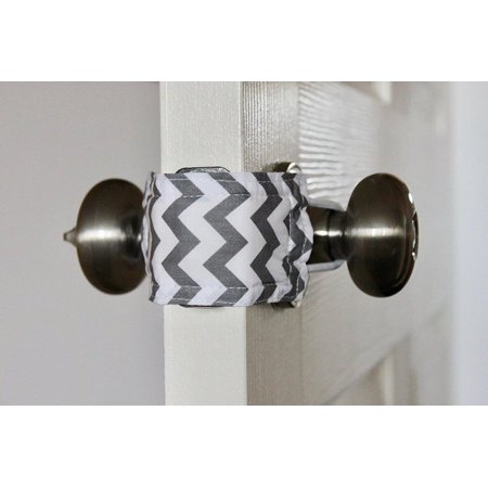 Latchy Catchy Door Latch Cover Jammer Noise Silencer Cushion - Grey Chevron (Door Latch Cover)