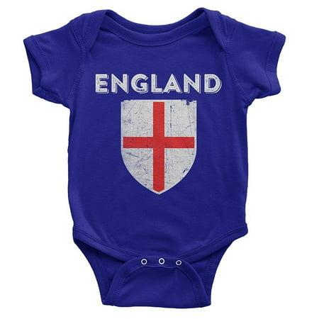 NYC FACTORY UK England Soccer Jersey Flag Baby Bodysuit Blue - Robin Onesie Uk