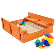 Best Choice Products 47x47-Inch Kids Wooden Outdoor Sandbox w/ 2 Foldable Bench Seats, Sand Protection, Liner - Brown