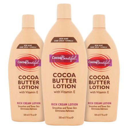 (3 Pack) Cocoa Beautiful⢠Cocoa Butter Rich Cream Lotion, 17 fl oz (Natural Cocoa Butter)