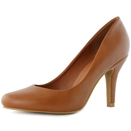 DailyShoes Women's Stiletto Pumps Mid Heels High Closed Round Toe Fashion Pointed Side Party Wedding Dress Sexy Thin Shoes Heel Pump Lily-01 Tan Pu 12 New Wedding Bridal Womens Shoes