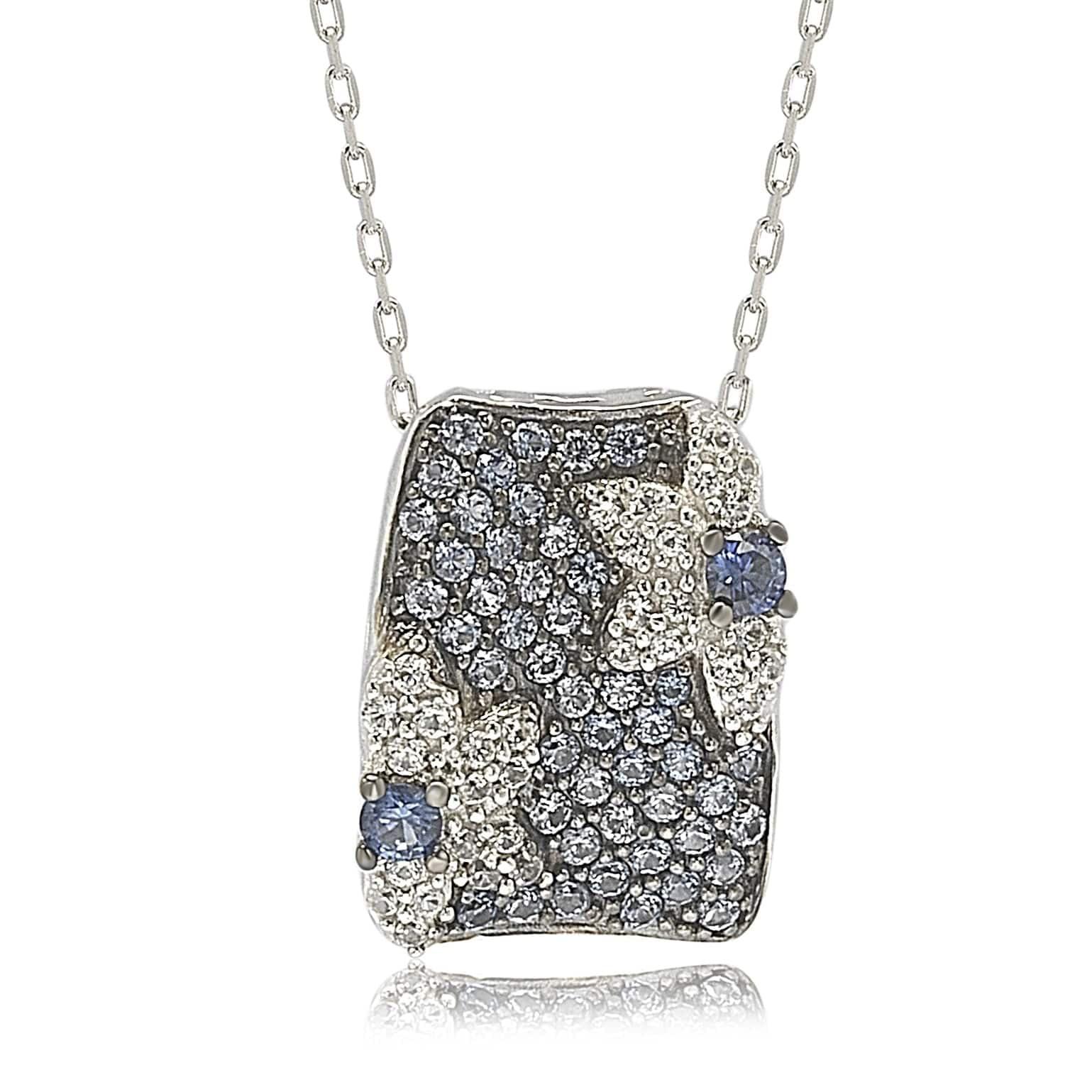 Suzy Levian Sterling Silver Sapphire & Diamond Floral Petite Necklace by Suzy Levian LLC