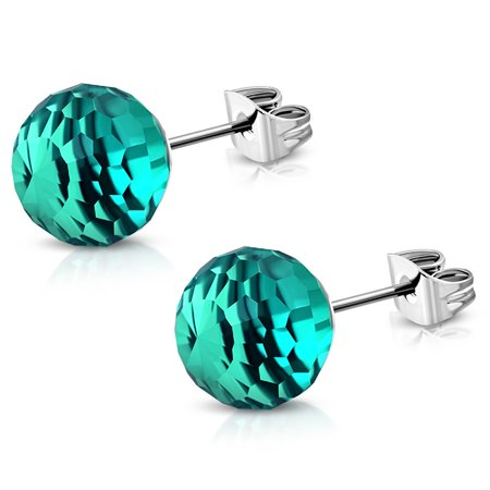Stainless Steel Sparkling Glass Ball Bead Button Stud Post Earrings