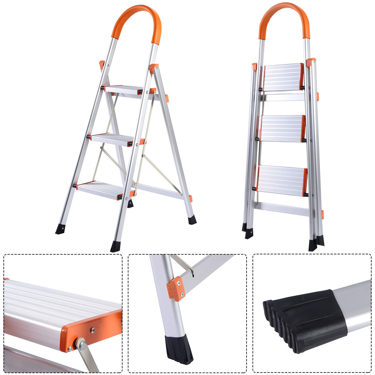 Costway New Non Slip 3 Step Aluminum Ladder Folding