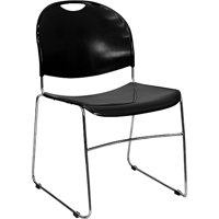 4 Pack - Black High Density, Ultra Compact Stack Chair w/ Chrome Frame