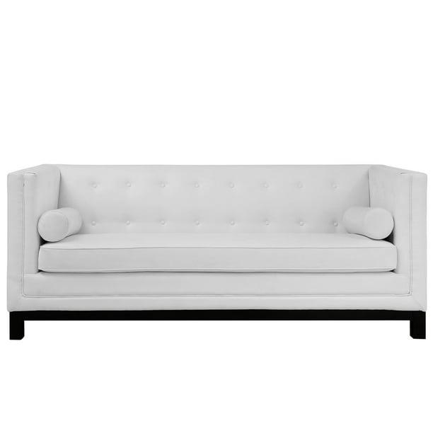 Modern Contemporary Sofa White Leather