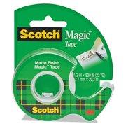 """Scotch 119 Magic Tape in Handheld Dispenser, 1/2"""" x 800"""", 1"""" Core, Clear"""