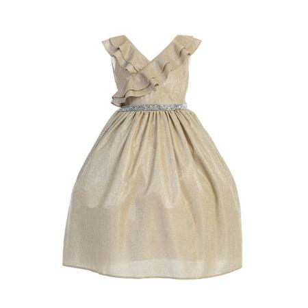 Kids Dream Girls Gold Ruffle Rhinestone Lurex Plus Size Christmas Dress 16.5