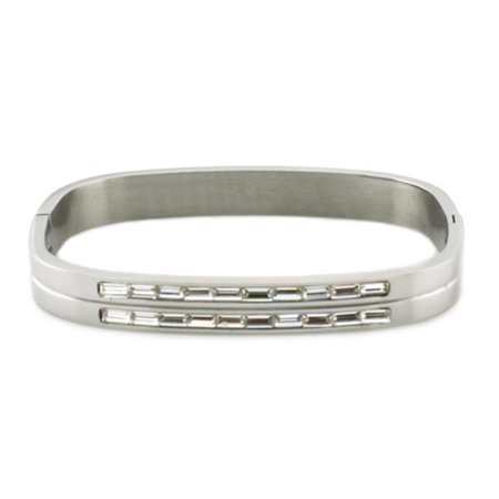 Stainless Steel Bangle with Baguette CZ Cut - image 1 de 1
