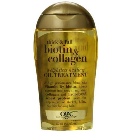 OGX Thick & Full Biotin & Collagen Weightless Healing Oil Treatment 3.30 oz (Pack of