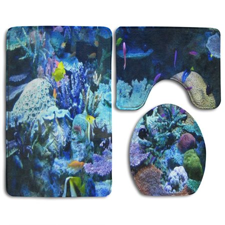 XDDJA Beautiful Reef Coral 3 Piece Bathroom Rugs Set Bath Rug Contour Mat and Toilet Lid Cover - image 1 of 2