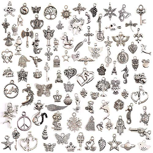 100 NEW MIX mixed tibetan silver charms various sizes •••Stocks Now Running Low