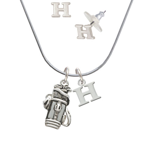 Golf Club Bag H Initial Charm Necklace and Stud Earrings Jewelry Set by Delight and Co.