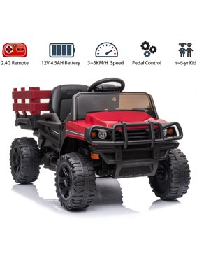 Remote Control Kids Electric Truck Car, 12V Battery-Powered Ride-on Jeep Truck Car Toy w/Trailer, 4-Wheel Vehicle Motorized Cars with 3-Speed/LED Light/MP3 Music, for 1~5-Year-Old Kids, Red, A500