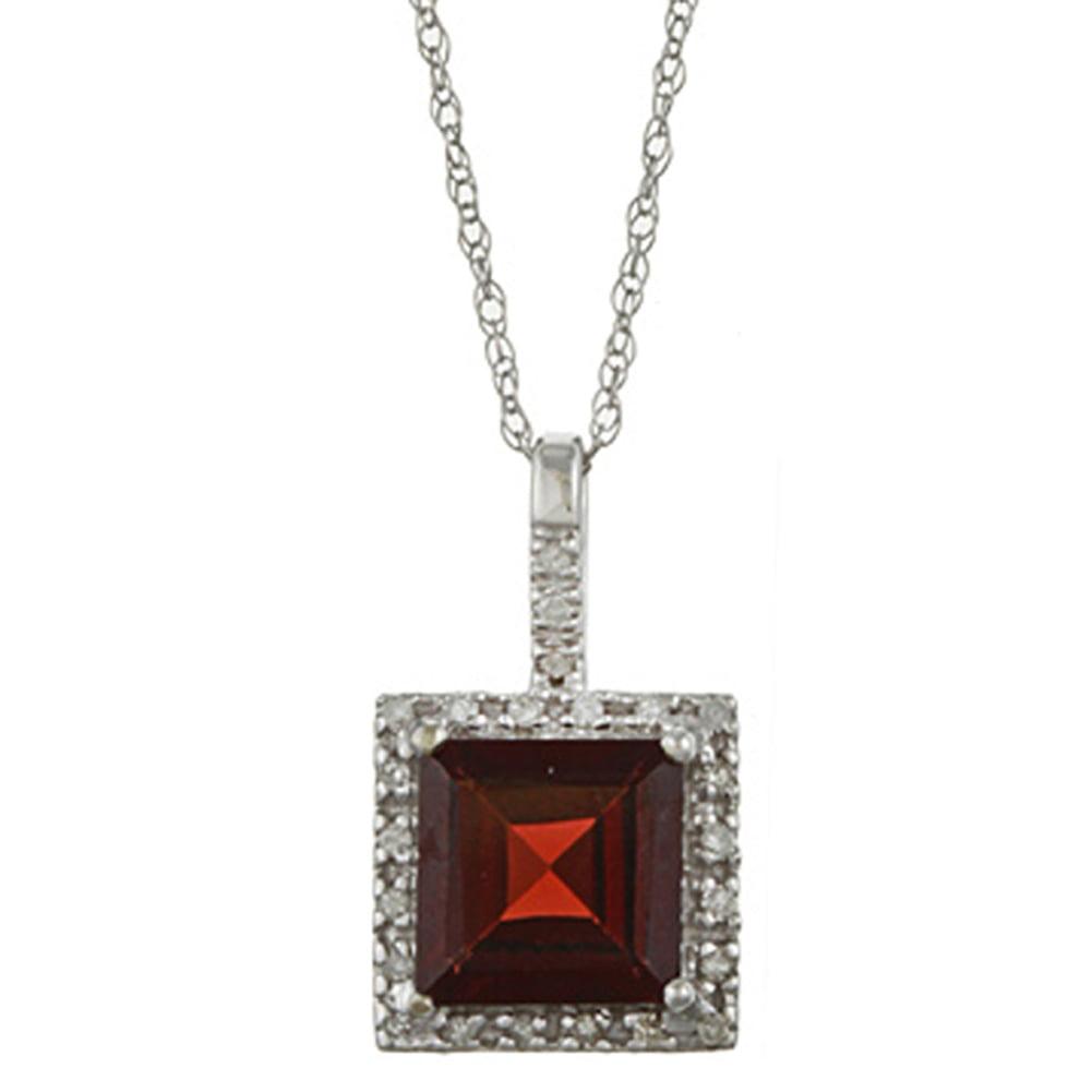 10k White Gold Square Garnet and Diamond Halo Pendant Necklace by Designer Diamonds