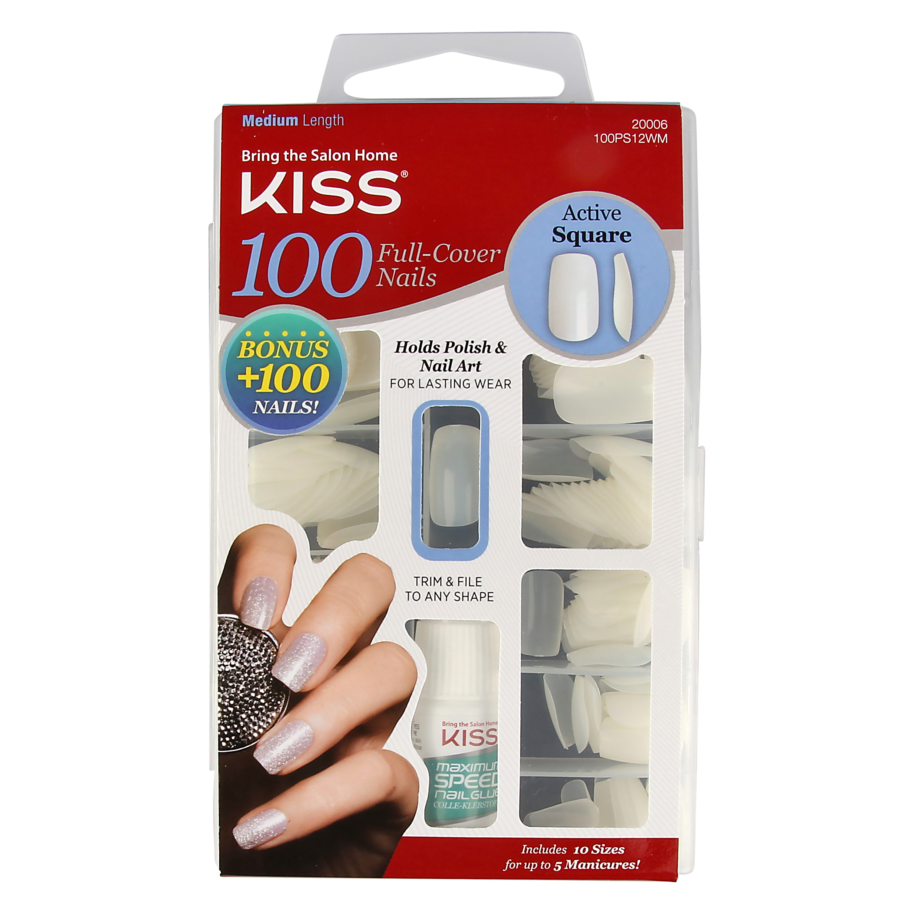 Kiss Natural-Looking Square-Shaped, Active/Medium Length, Full-Cover Artificial Nails Kit, 100 + 100 bonus nails and 0.10 oz. nail glue in container