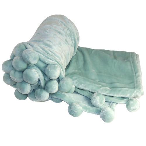 BOON Throw & Blanket Flannel Fleece Pom Pom Throw Blanket
