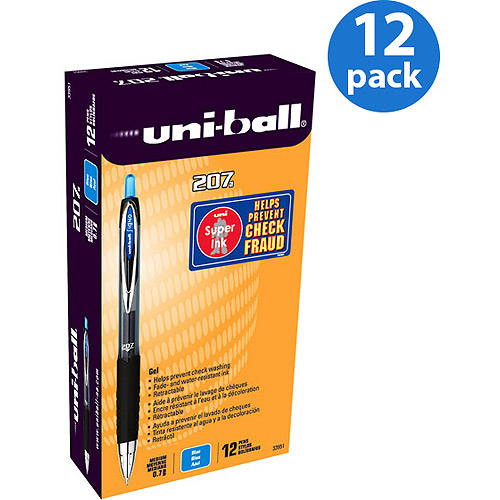 Uni-ball 207 Retractable Gel Pens, Medium Point, Blue, Box of 12