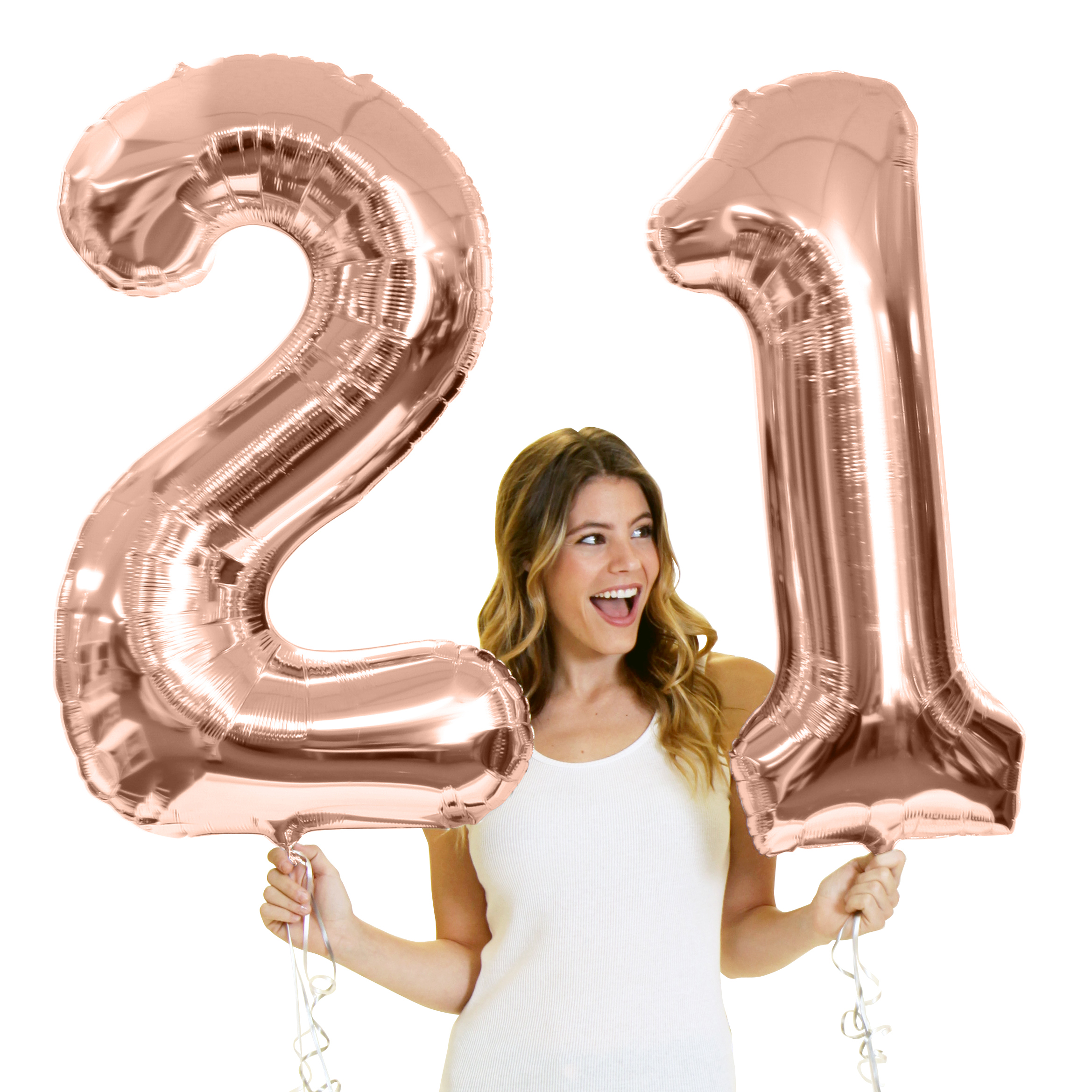 Giant 34 Tall Metallic Rose Gold 21 Balloons