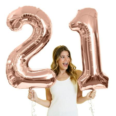 Giant 34 Tall Metallic Rose Gold 21 Balloons 21st Birthday
