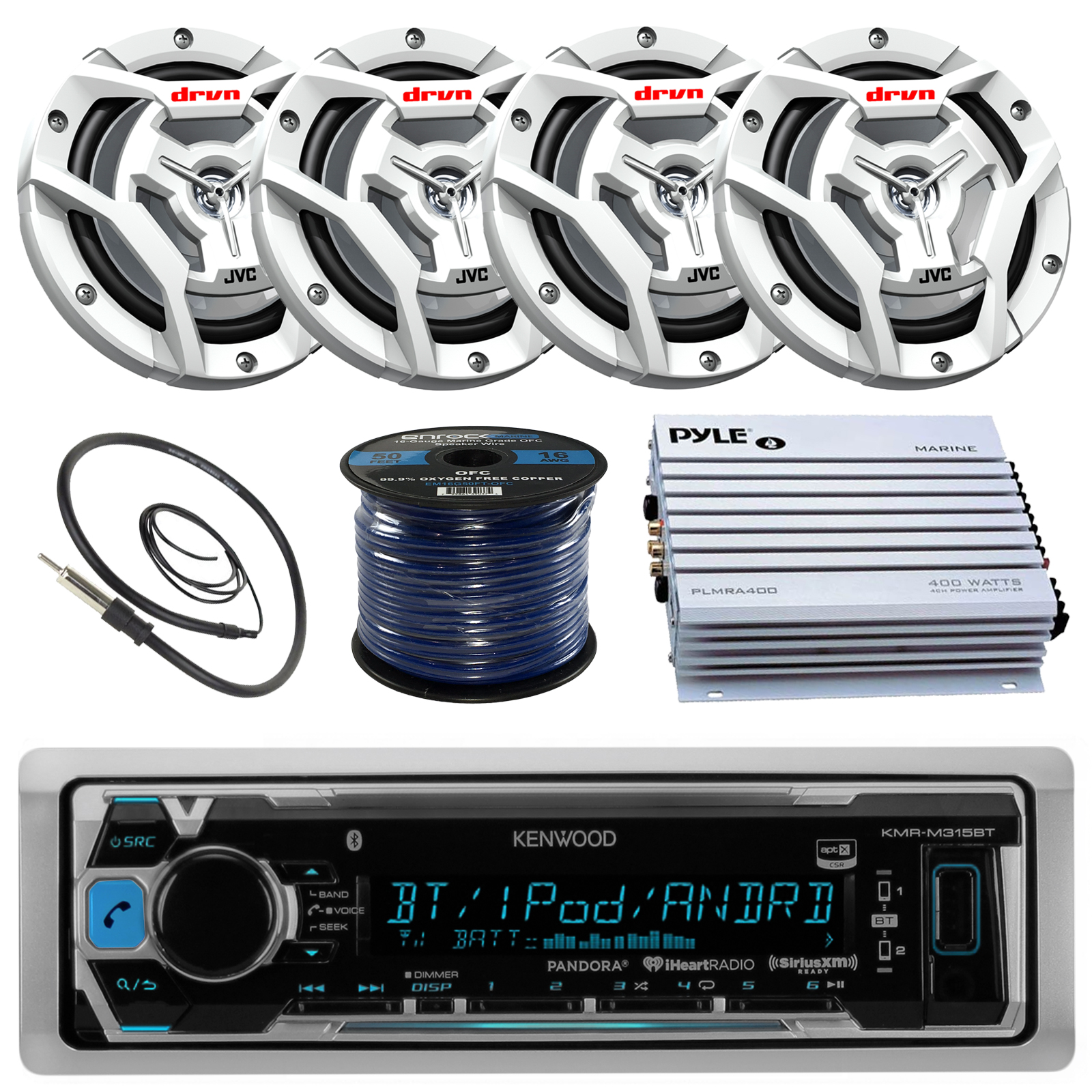 "Kenwood KMR-M315BT Marine Boat Yacht Radio Stereo Receiver Bundle Combo With 4x JVC CS-DR6201MW 6.5"" 2-Way Coaxial Speakers   360-Watt Amplifier   Enrock Radio Antenna   50 Foot 16g Speaker Wire"