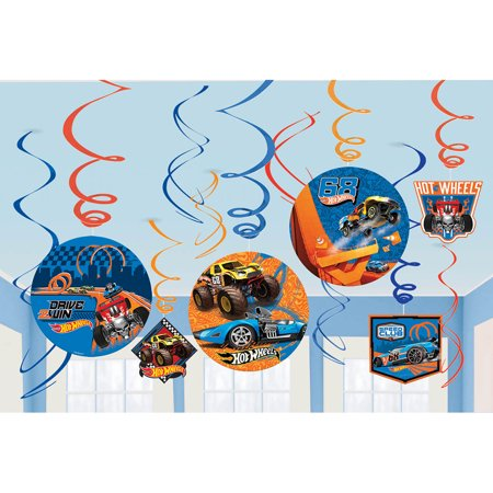 Hotwheels Birthday (Hot Wheels Wild Racer Foil Swirl Decorations (12 Pieces) - Party)