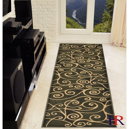 Modern Contemporary Area Rugs-Abstract Wavy Swirls -Shed Free Sage Green/Ivory/Mocha Mocha Colored Swirl