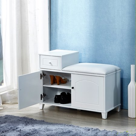 Organizedlife White Shoe Bench Cabinet with Cushion,Double Doors and Movable Drawer Wood