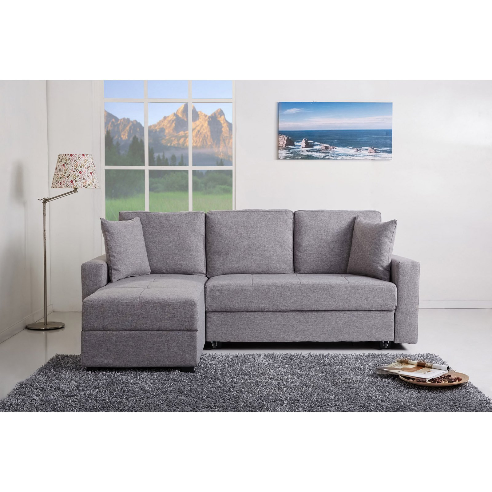 Gold Sparrow Aspen Fabric Convertible Storage Sectional Sofa