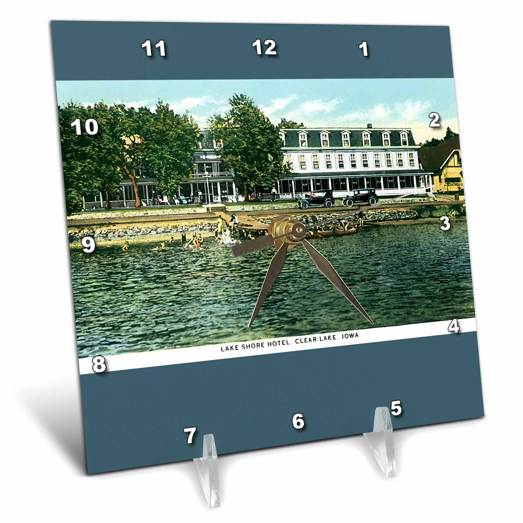 3dRose Lake Shore Hotel Clear Lake Iowa Waterfront Postcard Reproduction, Desk Clock, 6 by 6-inch by 3dRose