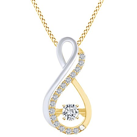 1/7 Carat White Natural Dancing Diamond Two Tone Infinity Pendant Necklace In 10k Solid Yellow Gold (0.14 Cttw)