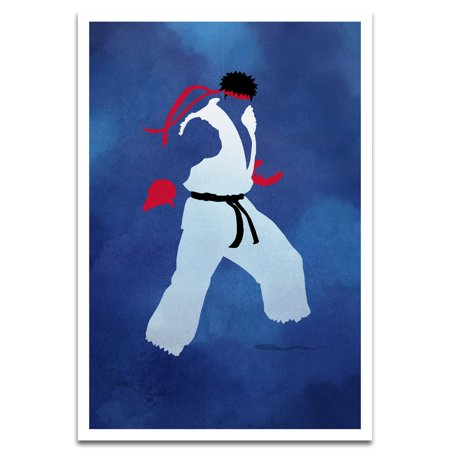 - Visionary Prints 'Fight! Print'   Gamer Wall Art - Karate Art with Red and Blue tones   Modern Contemporary Poster Print, 13x19 inch