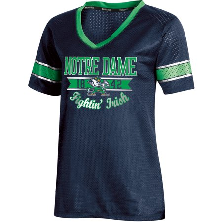 Women's Russell Navy Notre Dame Fighting Irish Fashion Jersey V-Neck