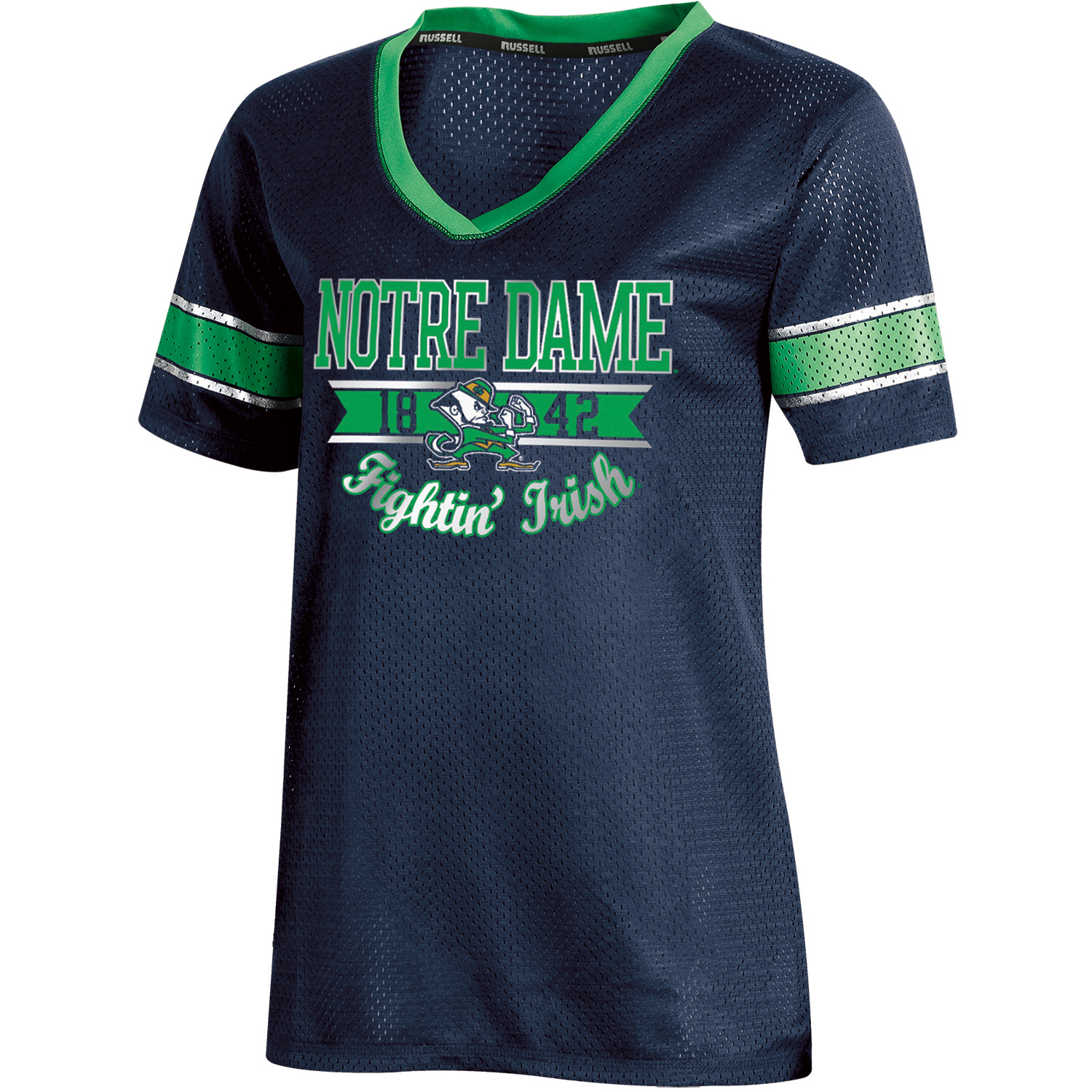 Women's Russell Navy Notre Dame Fighting Irish Fashion Jersey V-Neck T-Shirt
