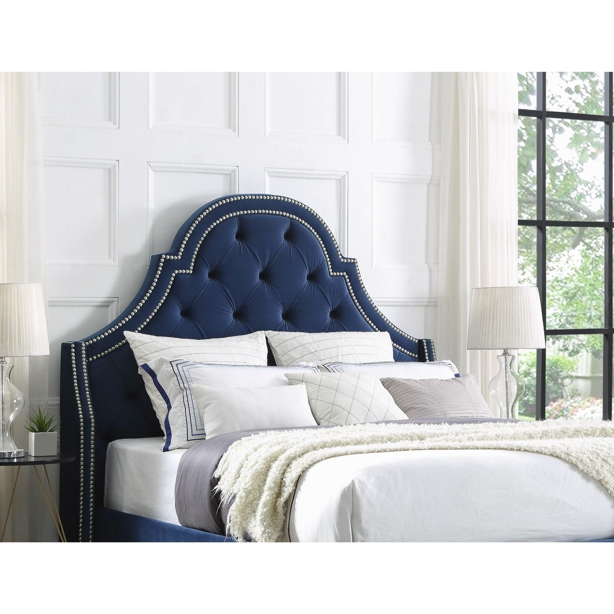 Inspired Home Katelynn Velvet or Linen Button Tufted Headboard