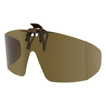 Polarized Clip-on Flip-up Plastic Sunglasses - Wrap Style - Polarized Brown - 65mm Wide X 55mm High (140mm Wide)