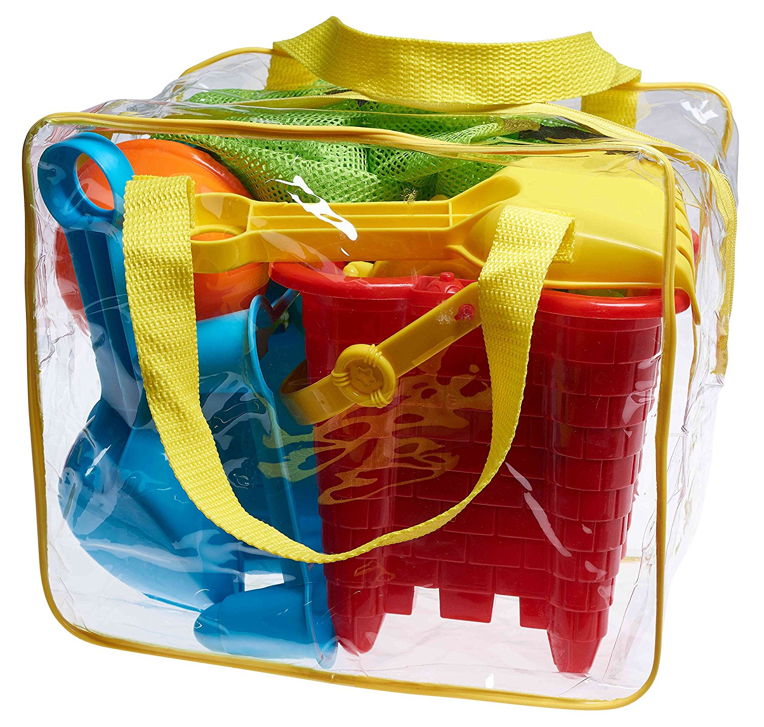 Beach Toy Set In Reusable Zippered Bag With Mesh For Easy Clean And