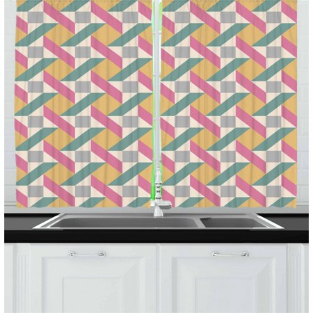 Vintage Curtains 2 Panels Set, Pastel Colored Geometric Mosaic Tiles Composition Repeating Angled Rhombus Shapes, Window Drapes for Living Room Bedroom, 55W X 39L Inches, Multicolor, by Ambesonne ()