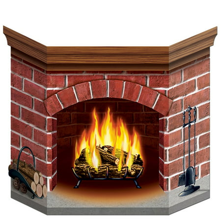 Pack of 6 Yuletide Fireplace Stand-up Cutout Christmas Decorations 36