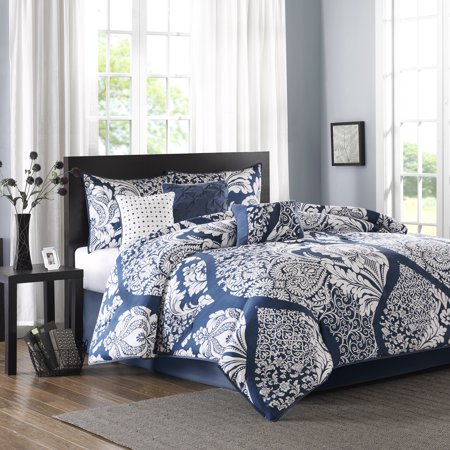 Fun Luxury Set (7-Piece Luxury Comforter Set in Damask Indigo,)