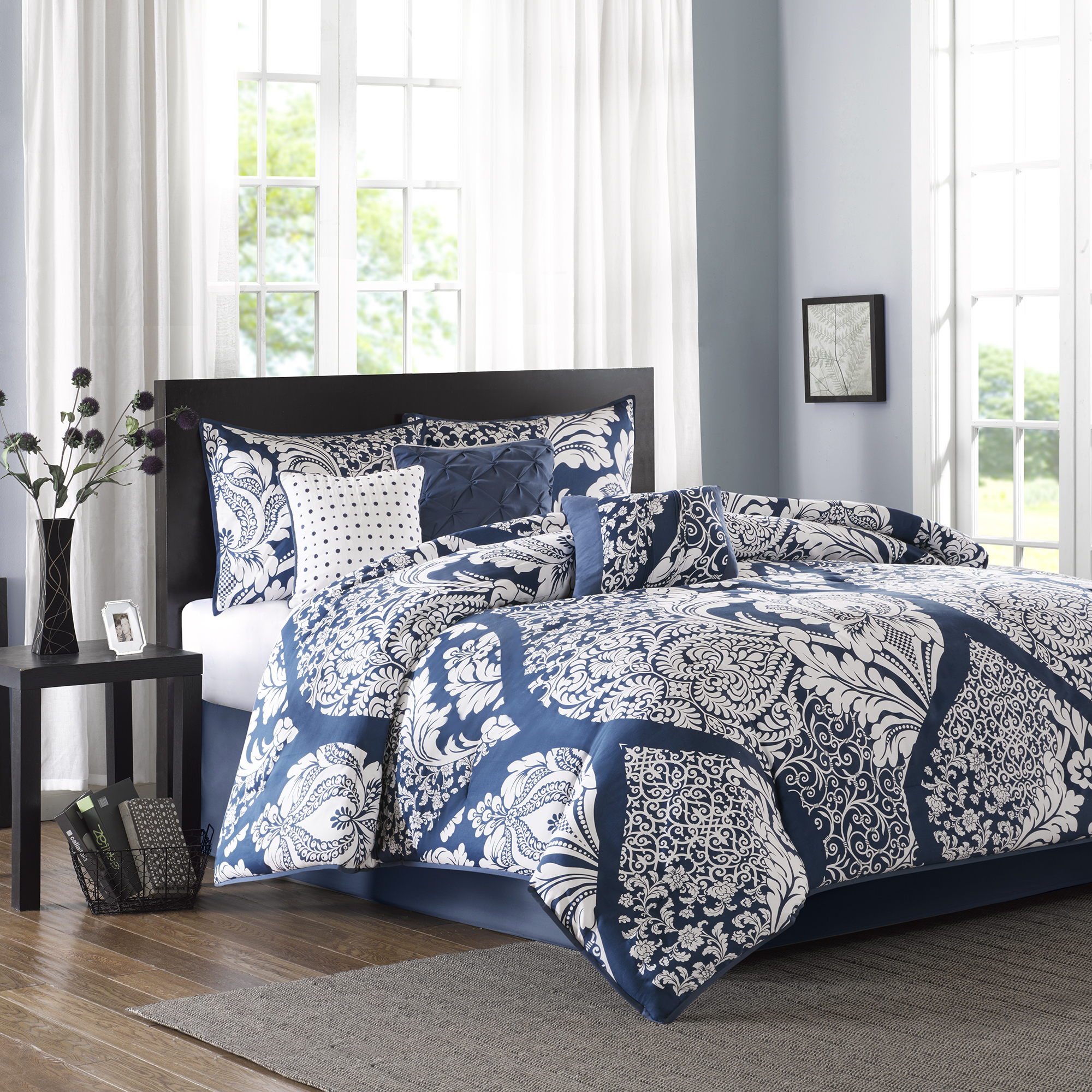 7-Piece Luxury Comforter Set in Damask, Choose your Size and Color