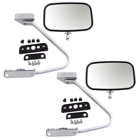 Pair of Manual Side View Chrome Mirrors with Metal Housing Replacement for Ford Pickup Truck SUV EOTZ17682D
