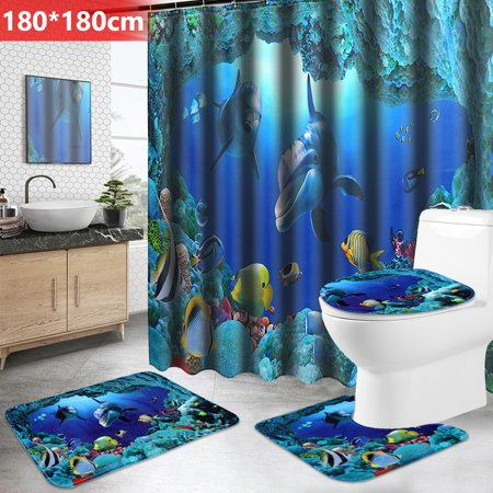 3Pcs Bathroom Set Pedestal Floor Rug + Lid Toilet Cover +Non-Slip Bath Mat Doormat /71''x 71'' Shower Curtain +12 Hooks Rings Dolphin Ocean Waterproof Polyester Home Decor