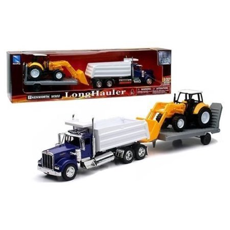 New 1:32 KENWORTH W900 DUMP TRUCK WITH WHEEL LOADER & Trailer SS-10663 Diecast Model By NEW RAY TOYS