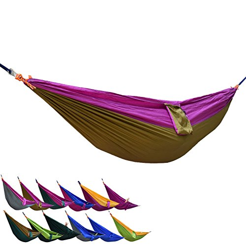 Portable Camping Nylon Fabric Outdoor Travel Parachute Hammock, Purple+Camel Double